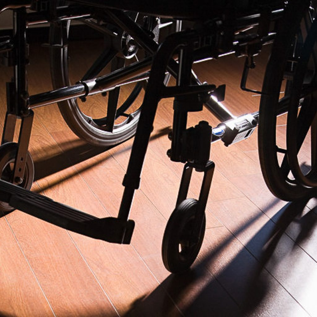 Wheelchair on a wooden floor